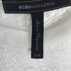 BCBGMaxAzria Tops - BCBGMAXZARIA White Top Size XXS Lace Back Inserts